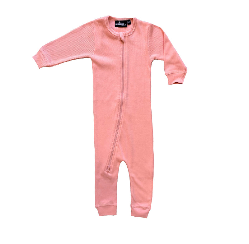 MLW By Design - Ribbed Zip Onesie Long Sleeve | Peach