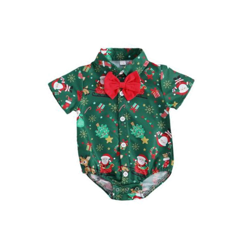 Bow Tie Christmas Romper | Green *CLEARANCE*
