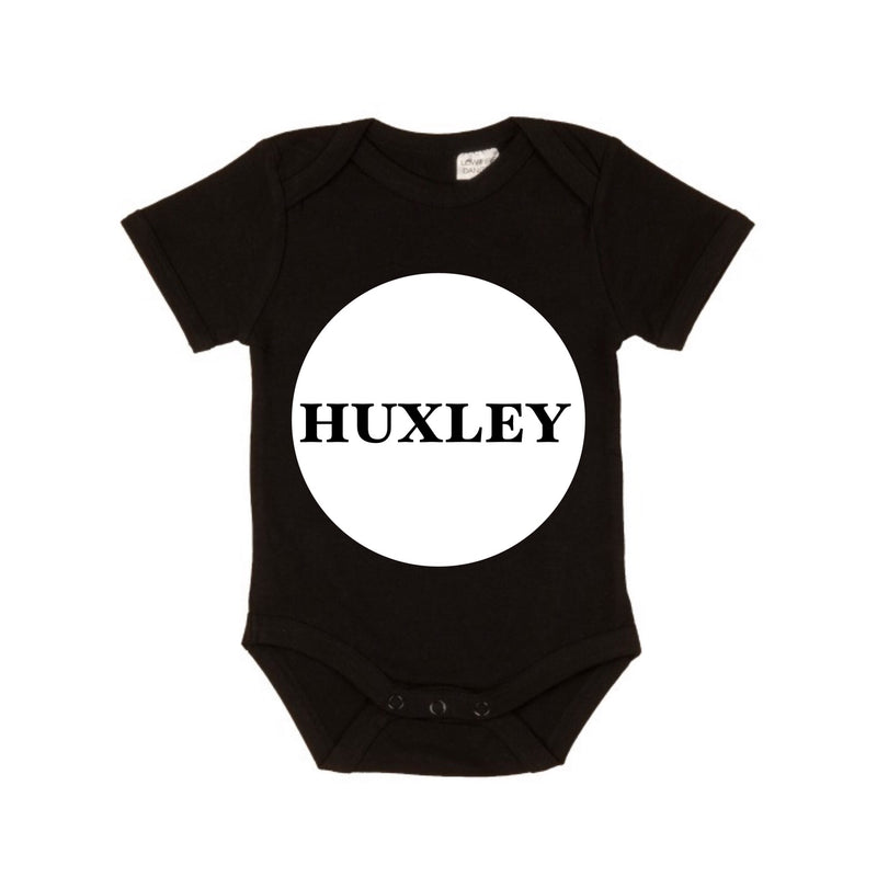 MLW By Design - Personalised Circle Name Short Sleeve Bodysuit | Various Colours