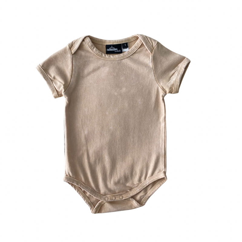 MLW By Design - Basic Short Sleeve Bodysuit | Sand Stonewash
