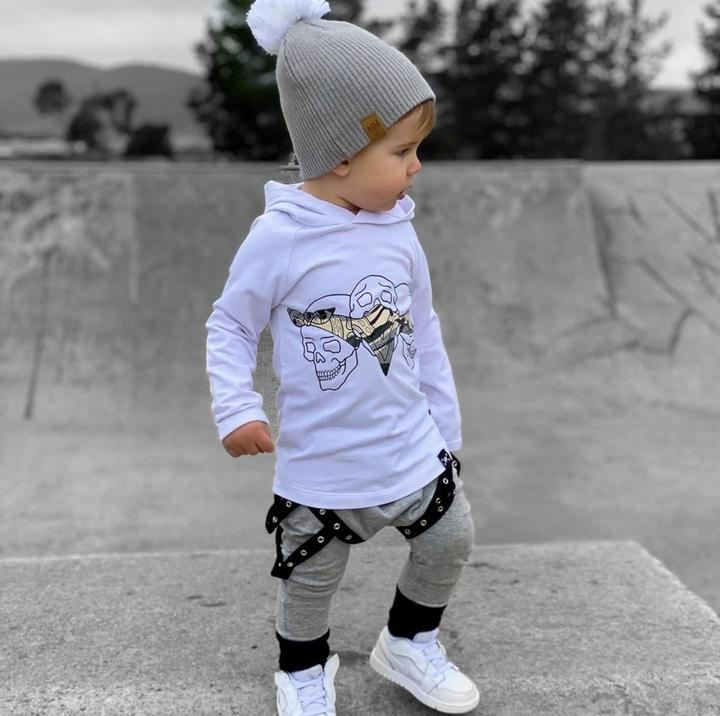 Mini Maxwell - White - Grey Days Beanie