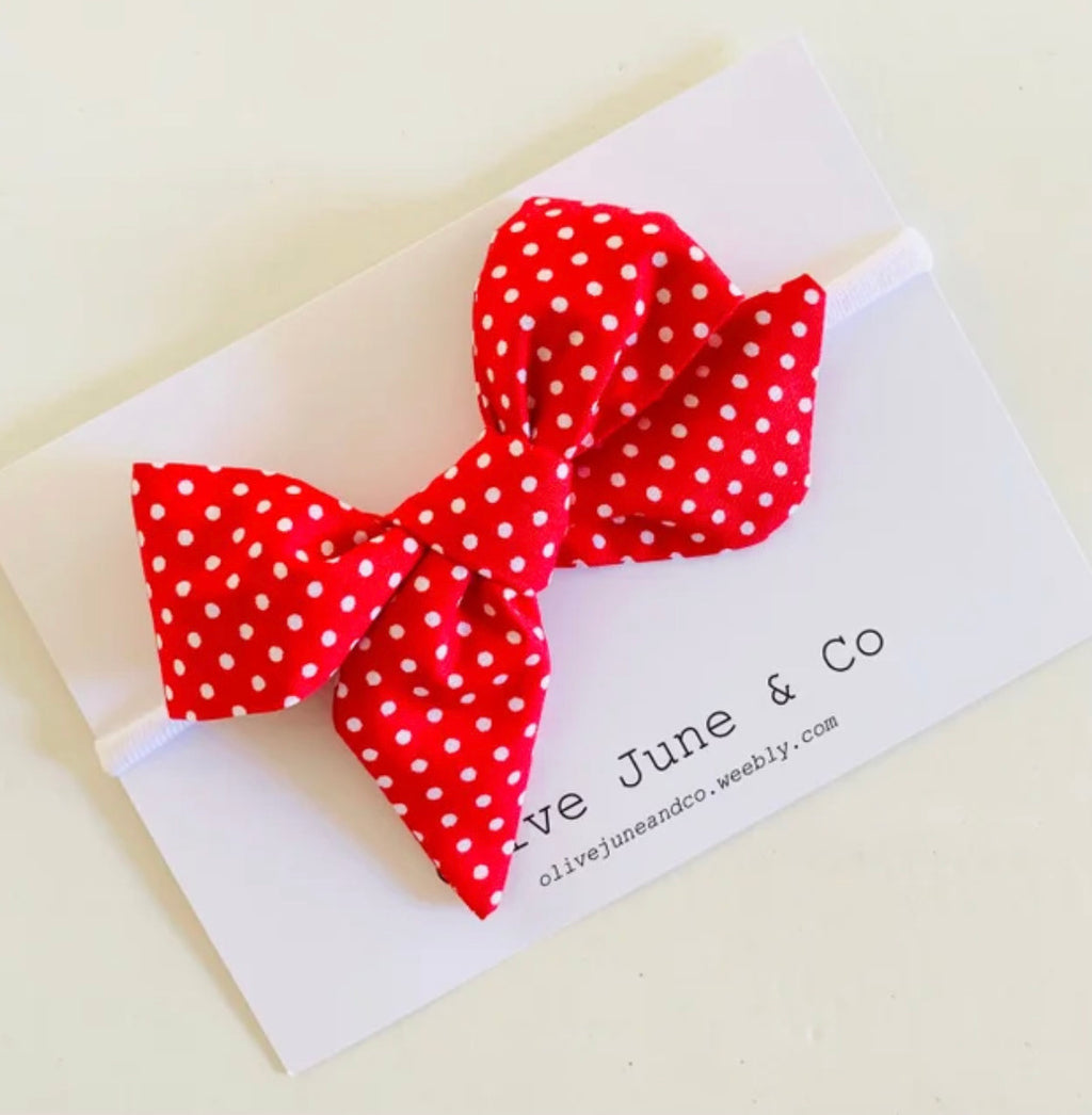 Olive June and Co - Handmade Indie Bow Headband | Red Polka