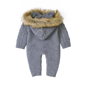 Fluffy Hood Knit Onesie | Charcoal