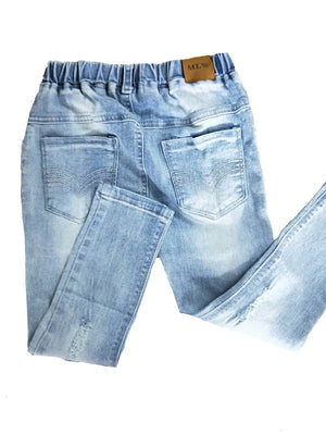 MLW By Design - Distressed Light Wash Denim Pants