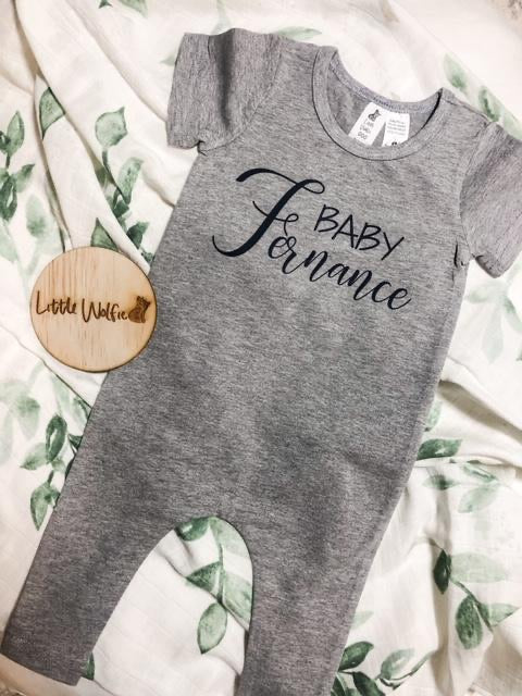 Little Wolfie - Personalised Grey Romper