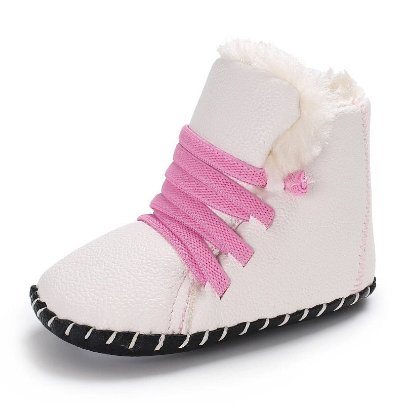 Winter Booties | White & Pink