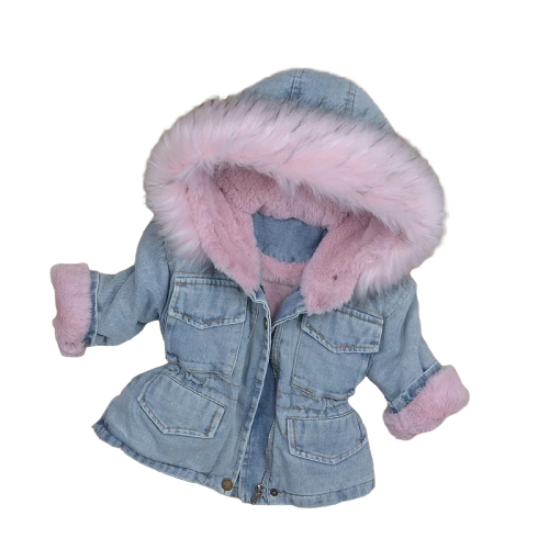 Fluffy Denim Coat | Pink Furr