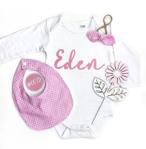 MLW By Design - Personalised Small Script Bodysuit | White