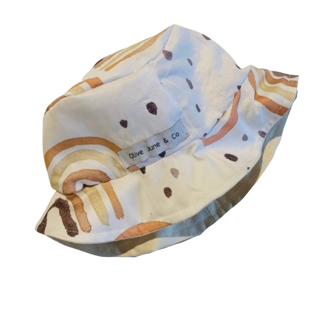 Olive June and Co - Boys Sun Bucket Reversible Hat | Watercolor Rainbow Rust
