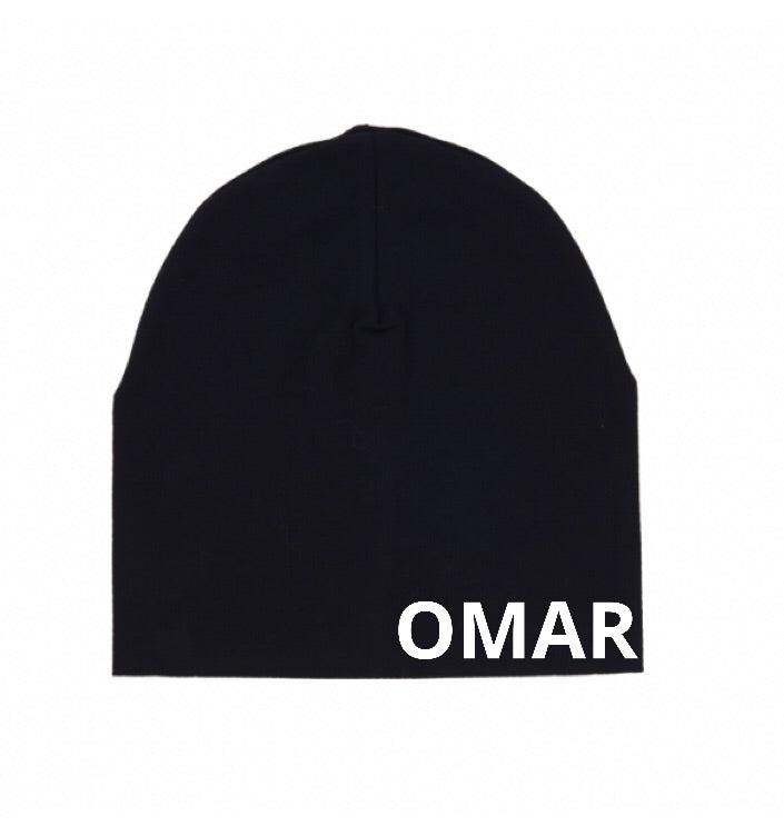 MLW By Design - Personalised Slouch Beanie Black | Omar