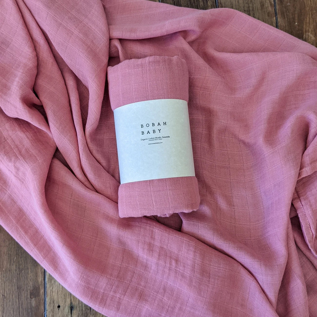 Bobah Baby - Organic Cotton Muslin Swaddle | Turkish Rose