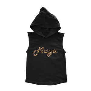MLW By Design - Personalised Leopard Name Sleeveless Hoodies | Black or White