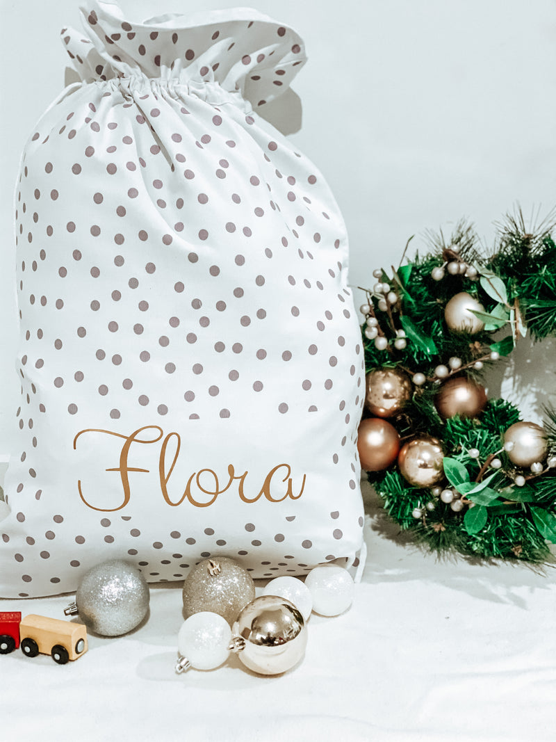 MLW By Design - Grey Polka Dot Personalised Christmas Santa Sack