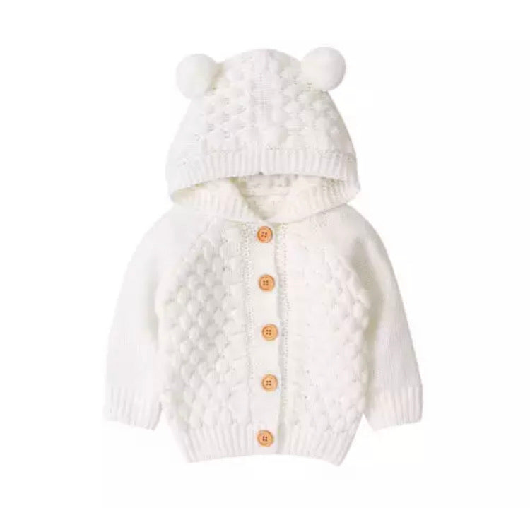 Bear Knit Cardigan | White