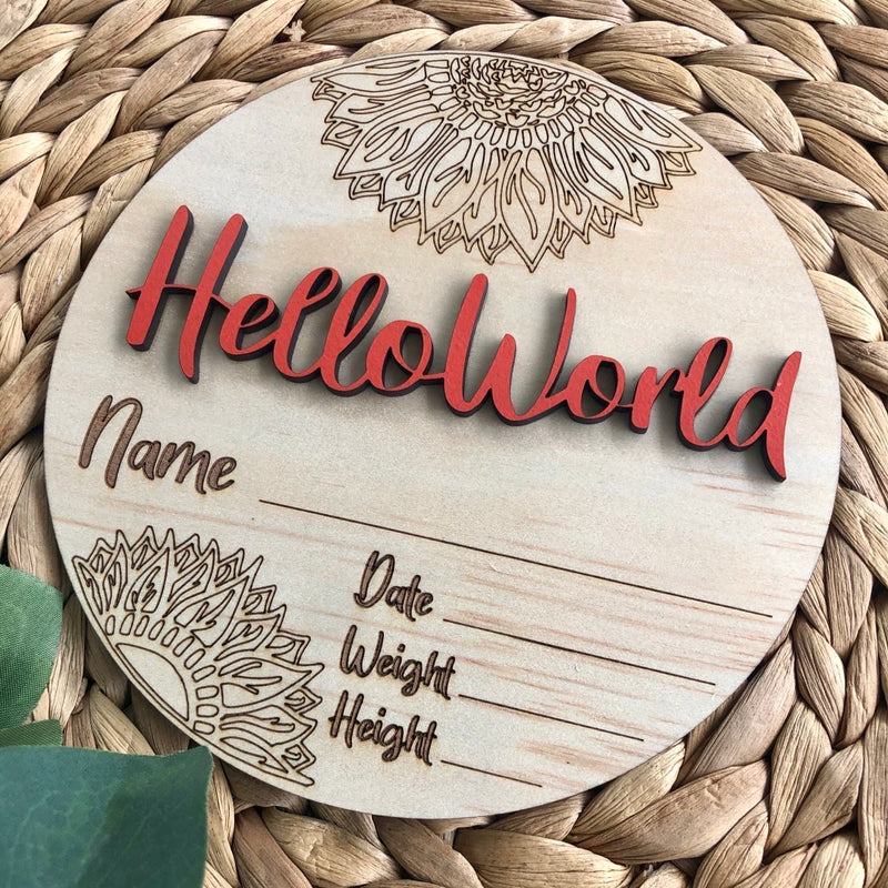 Timber Tinkers - Hello World Sunflowers | Burnt Orange