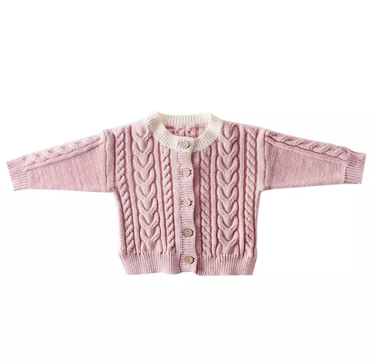 Cable Knit Cardigan | Pink