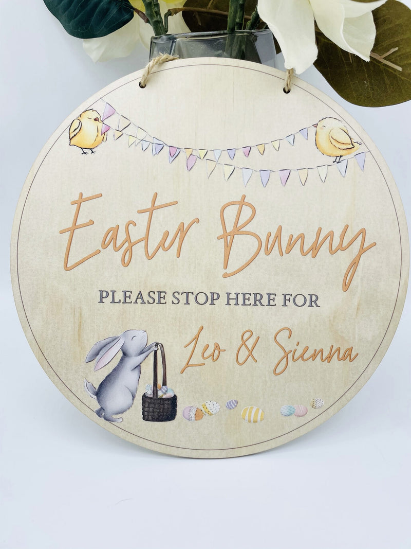 Timber Tinkers - Personalised Easter Bunny Please Stop Here Sign – Colour