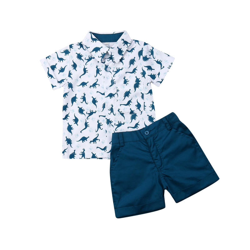Navy Button Down Dino Set