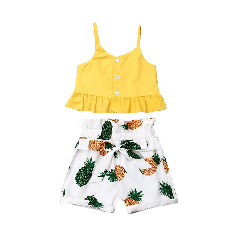 Pineapple High Waist Shorts Set