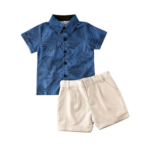 Blue Palms Shorts Set