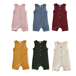 Harrison Button Onesie | Oatmeal