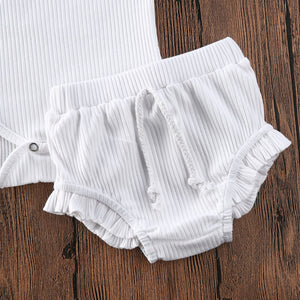 Aurin Ribbed Bloomer Set | White