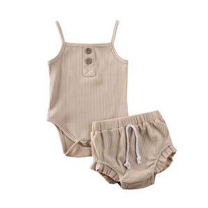 Aurin Ribbed Bloomer Set | Cappucino
