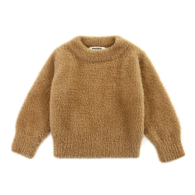 Faux Mohair Cuddly Jumper | Tan