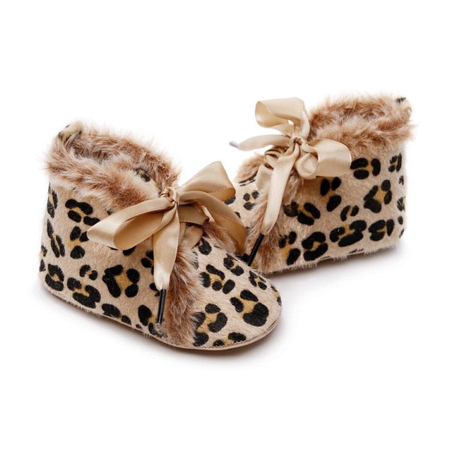 Fluffy Leopard Booties | Tan