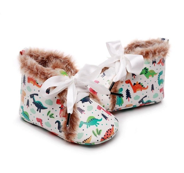 Fluffy Ribbon Boots | Dinosaur