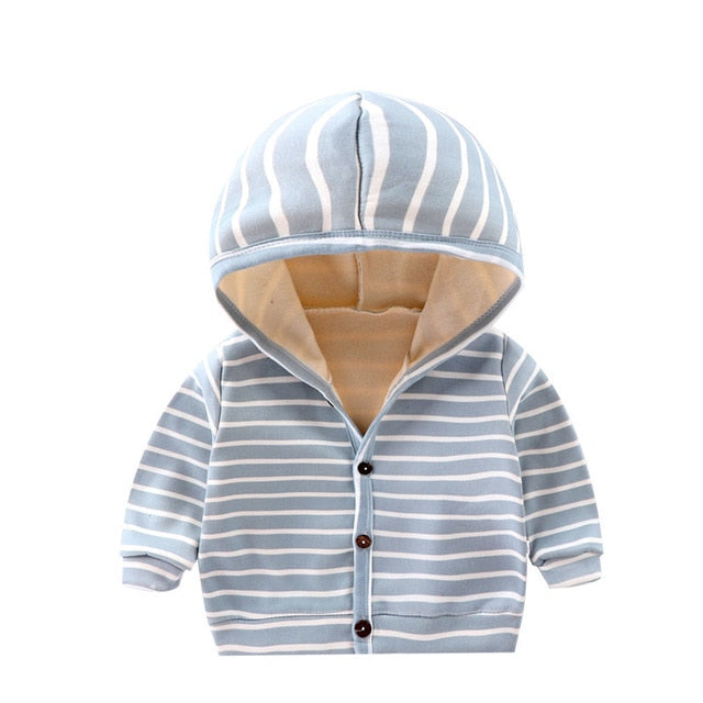 Stripey Hooded Jacket | Baby Green