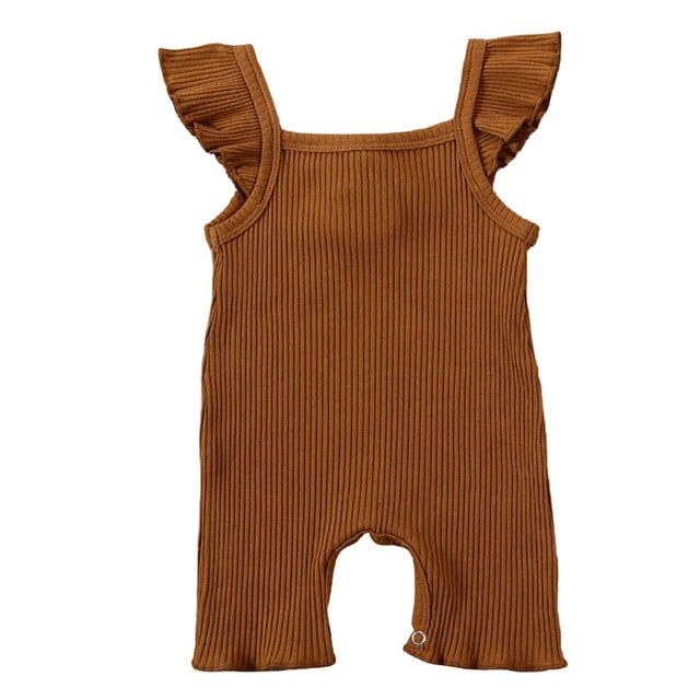 Ribbed Flutter Basic Romper | Brown