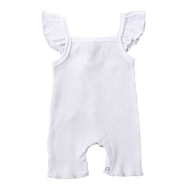 Ribbed Flutter Basic Romper | White