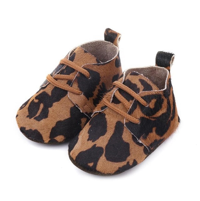 Cow Spots Leather Baby Shoes
