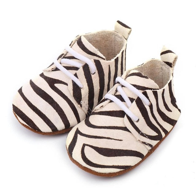 Zebra Leather Baby Shoes