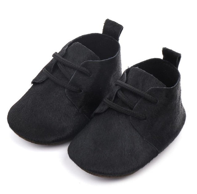 Black Leather Baby Shoes
