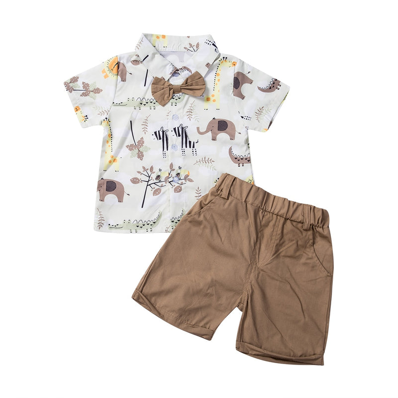 Safari Bow Tie & Shorts Set