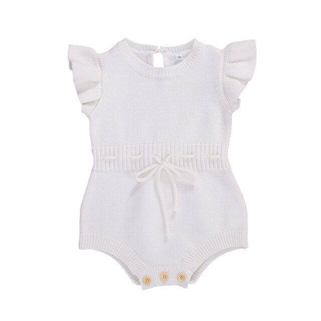 Addison Knit Romper | White