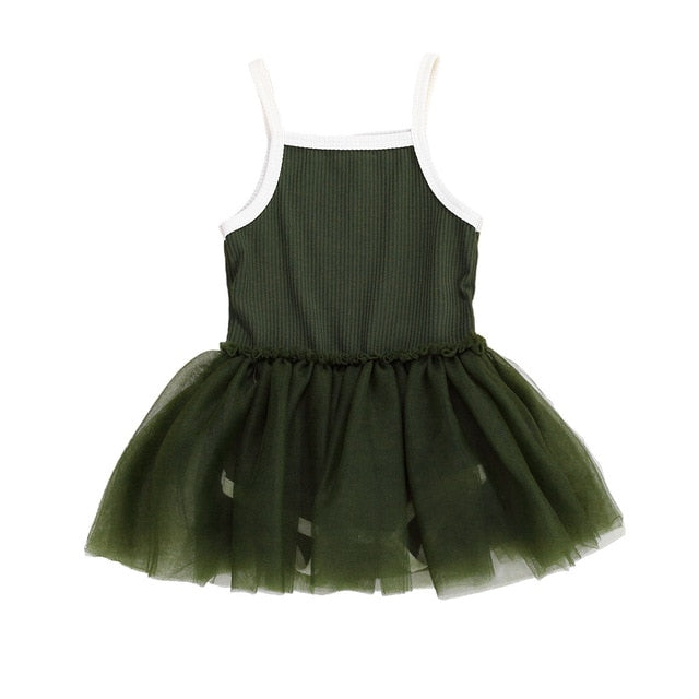 Ribbed Tutu Dress | Green