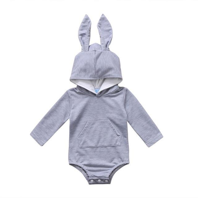 Bunny Ears Long Sleeve Bodysuit | Grey CLEARANCE