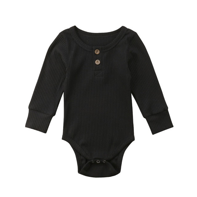 Ribbed Button Bodysuit | Black