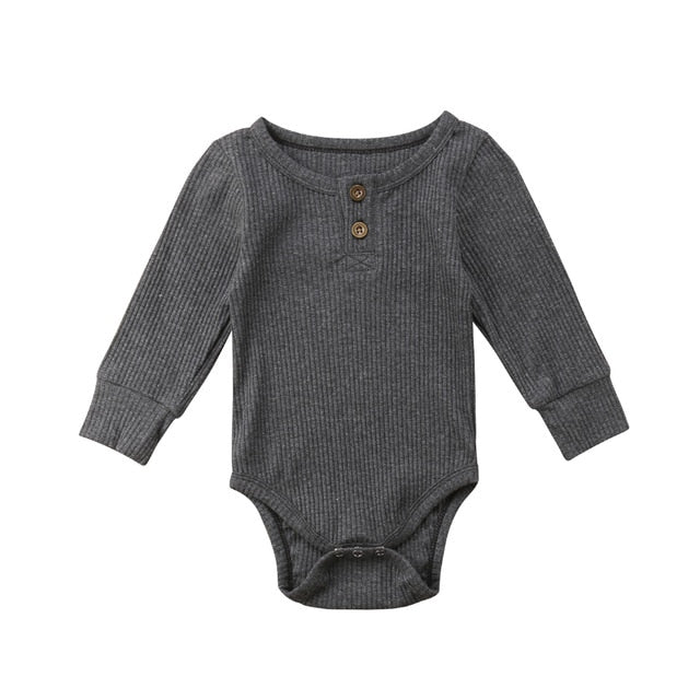 Ribbed Button Bodysuit | Charcoal