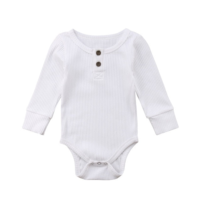 Ribbed Button Bodysuit | White