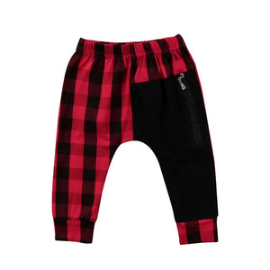 Zip Pocket Checkered Pants | Red