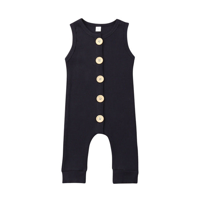Ribbed Button Romper | Navy