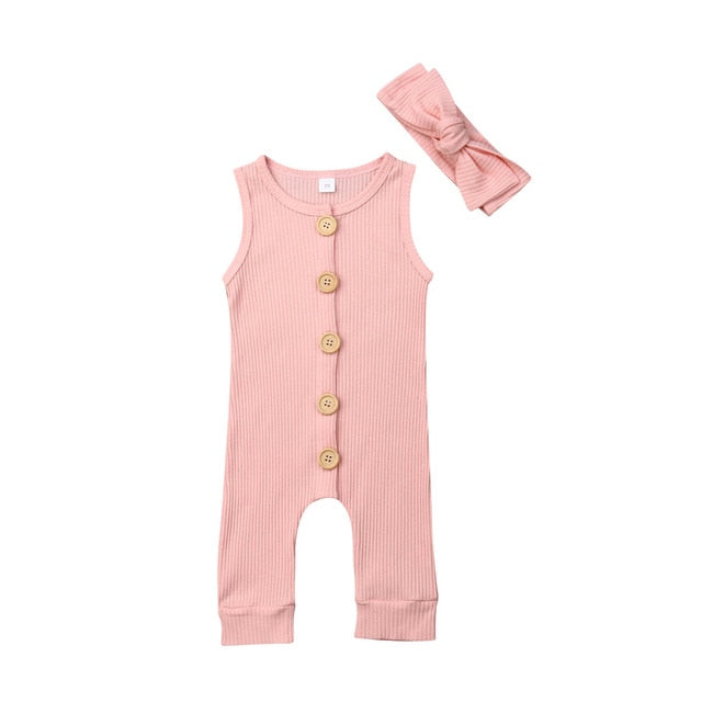 Ribbed Button Romper | Pink