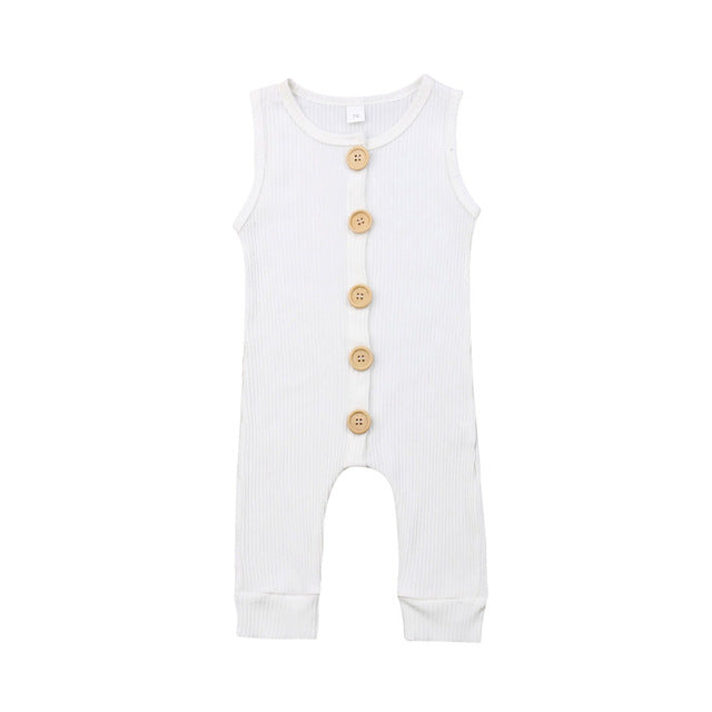Ribbed Button Romper | White