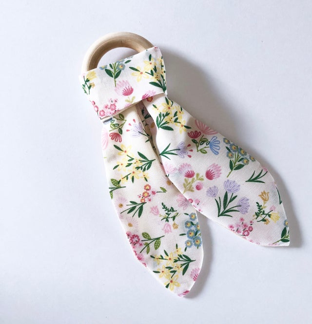 Olive June and Co - Natural Wood Fabric Teether | Summer in Bloom