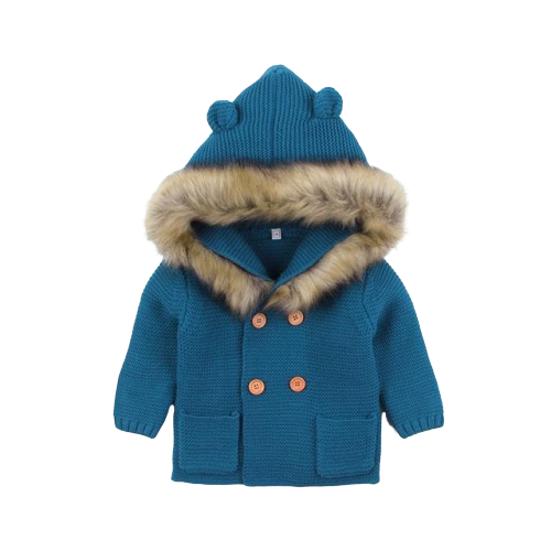 Fluffy Hood Cardigan | Teal