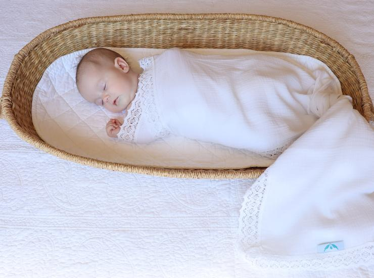 Kute Cuddles - Heirloom Swaddle - Milk with Pearl Lace